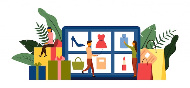 Online shopping, e-commerce concept with character illustration