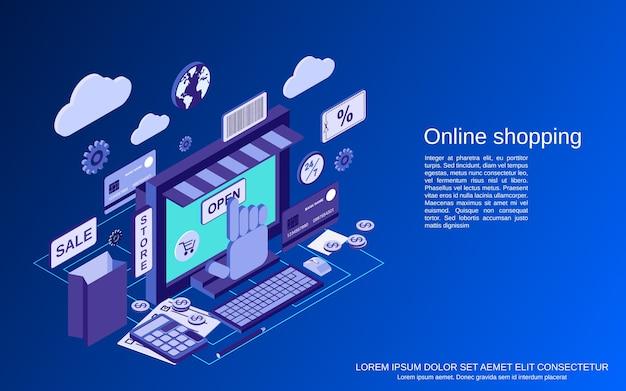 オンラインショッピング、eコマース、遠方貿易フラットアイソメトリックコンセプト