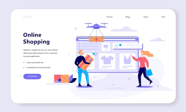 Online shopping, e-commerce, female and male customer choosing clothes. web page . internet marketing.   illustration in  style