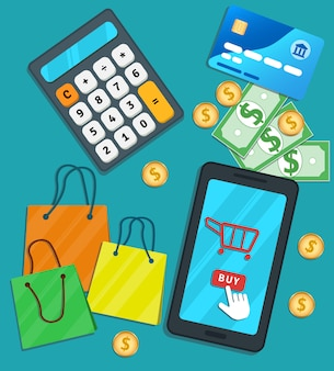 Online shopping e-commerce mobile app. flat smartphone with cart icon and buy button on screen