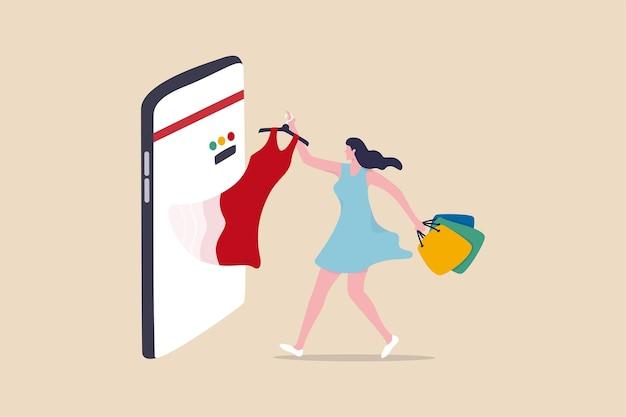 Интернет-магазин электронной коммерции или покупка и покупка товаров через концепцию мобильного приложения