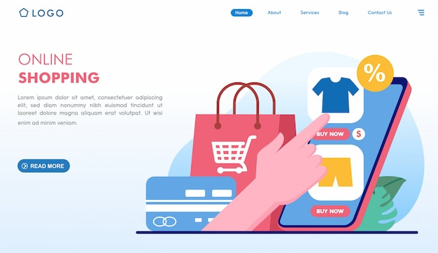 Online shopping easy buying landing page in flat style