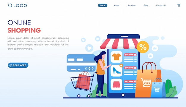 Online shopping easy order landing page in flat style