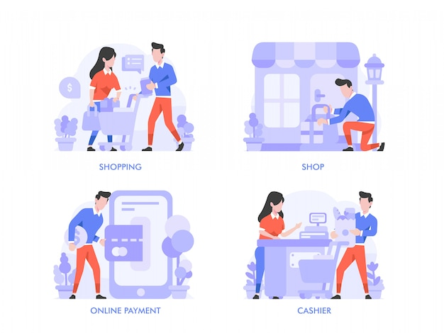 Online shopping or ecommerce concept in flat design style. shopping bag, cart, online payment, cashier, shop, store, illustration.