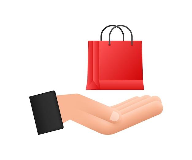 Концепция электронной коммерции онлайн-шоппинга с иконкой онлайн-шоппинга и маркетинга руки держат