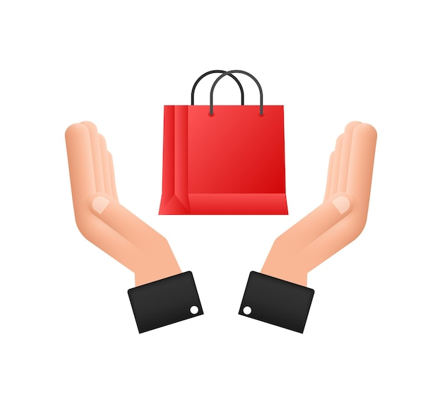 Online shopping ecommerce concept with online shopping and marketing icon hands holding