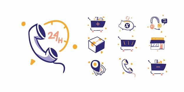 온라인 쇼핑 전자 상거래 아이콘 그림 손으로 그린 디자인 스타일. 24 시간 고객 서비스, 케어, 전화, 구매, 체크 아웃, 카트, 캐쉬백 할인 패키지 바구니, 매장, 매장 주소 위치