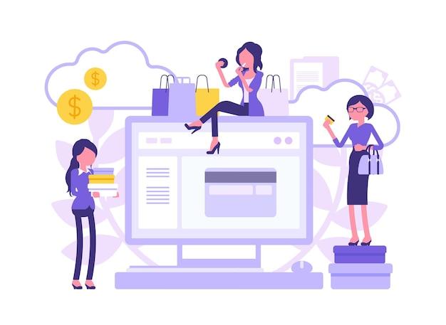 オンラインショッピングの電子商取引と女性の消費者。インターネットを介して商品、サービスを購入し、カード、巨大なモニターのシンボルで支払う女性の顧客。顔のない文字でベクトル図
