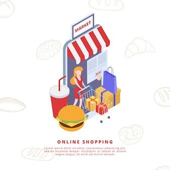 Online shopping element isometric style