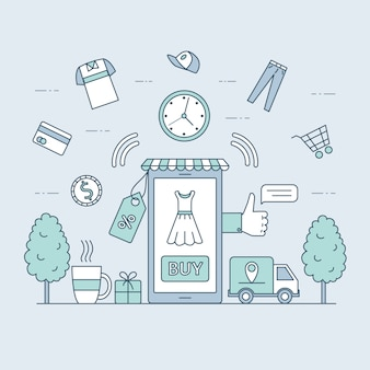 Online shopping and fast delivery cartoon outline illustration. season sale, internet shopping concept.