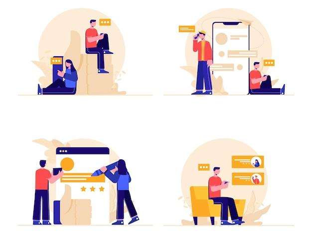 온라인 쇼핑 피드백 및 추천 글 세트