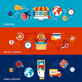 Online shopping flat banner set with searching and mobile payment elements isolated vector illustration