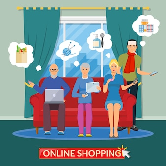Online shopping flat composition