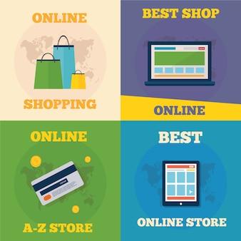 Online shopping flat concept design
