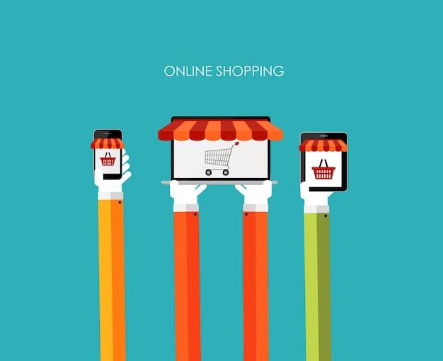 Интернет-магазин плоской концепции для мобильных приложений. eps10