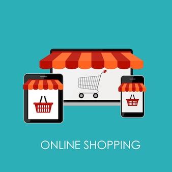 Интернет-магазин плоской концепции для мобильных приложений.