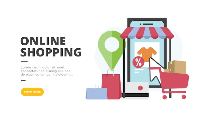 Online shopping flat design banner illustration