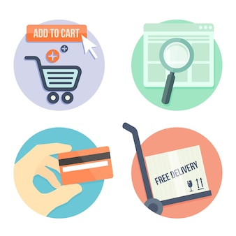 オンラインショップのフラットデザインアイコン、バッグに追加、支払い方法、配送