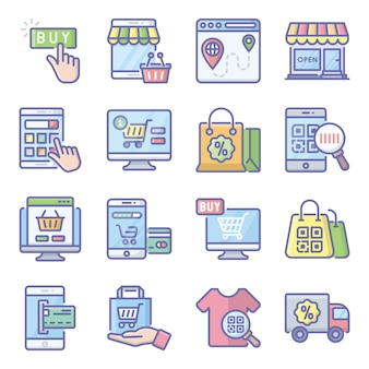 Online shopping flat icons pack