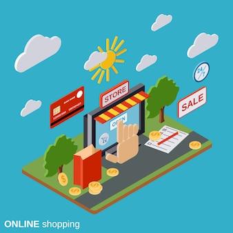 Online shopping flat isometric vector concept illustration