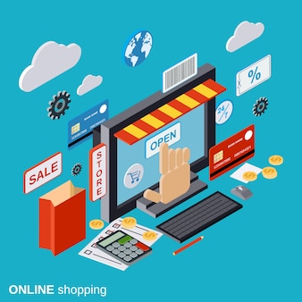 Online shopping flat isometric vector concept