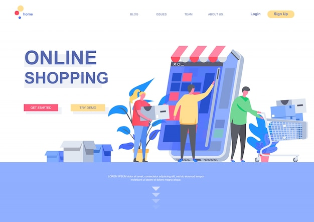 Online shopping flat landing page template. shopping mobile application, people with purchases situation. web page layout with people characters. internet marketplace distribution illustration.