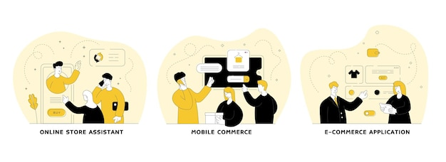 Интернет-магазин плоский линейный набор иллюстраций. интернет-магазин-помощник, мобильная коммерция, приложение для электронной коммерции. приложение мобильного магазина. герои мультфильмов мужчин и женщин