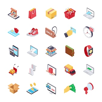 Online shopping flat vectors set