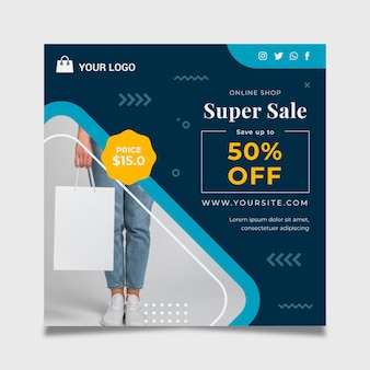 Online shopping flyer square