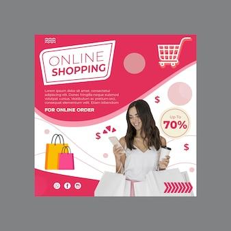 Online shopping flyer square Premium Vector
