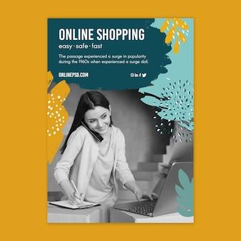 Modello di volantino dello shopping online Vettore gratuito