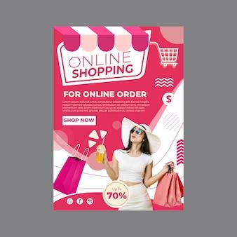 Online shopping flyer vertical Premium Vector