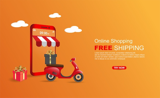 Online shopping free shipping package by scooter on mobile phone banner template.