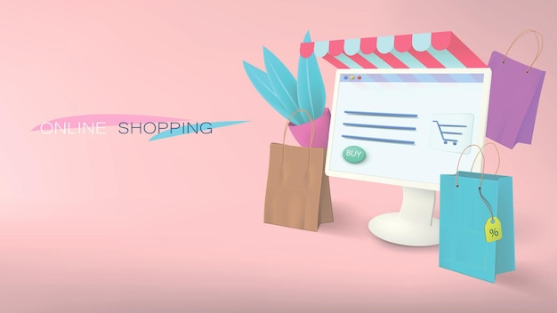 Online shopping from a computer at home. e-commerce banner in pink with elements of bags, packages, plants.