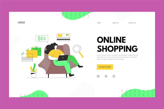 Online shopping from home landing page