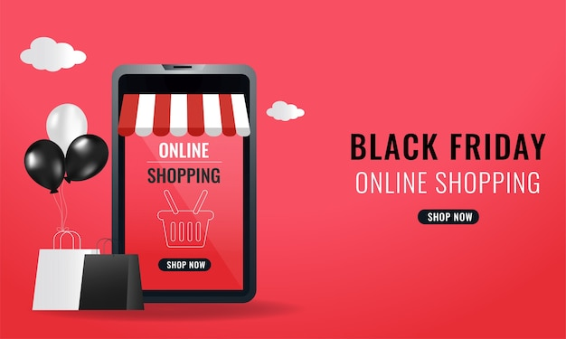 Online shopping from smartphone with realistic balloons