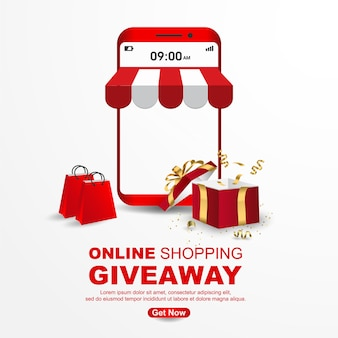 Online shopping giveaway with mobile banner template