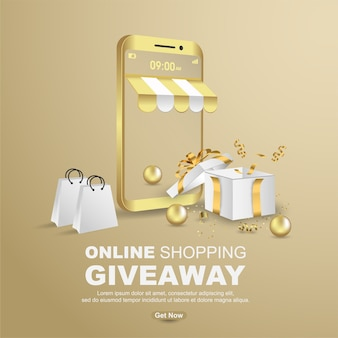 Online shopping giveaway with realistic gift box banner template