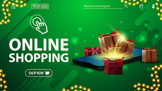Online shopping, green banner with large white title, button, presents boxes lying on the smartphone screen and presents boxes around