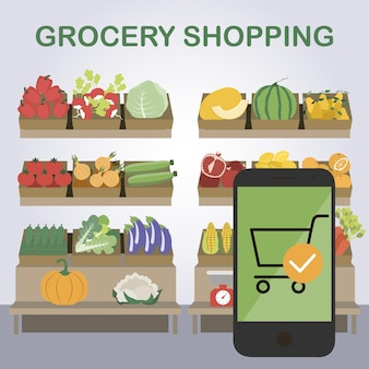 Online shopping at a grocery store delivery of fruits and vegetables vector illustration