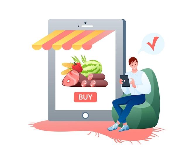 온라인 쇼핑 식료품 점.
