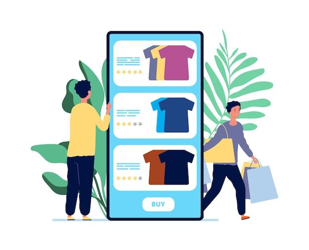 オンラインショッピング。男は服を選びます。製品レビューと幸せな顧客。モバイルアプリイラストの評価サービス。