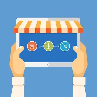 Интернет-магазины, руки держат планшет и покупают товары