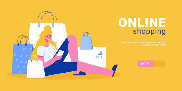 Online shopping horizontal banner illustration