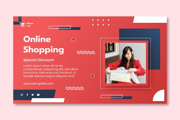 Online shopping horizontal banner template