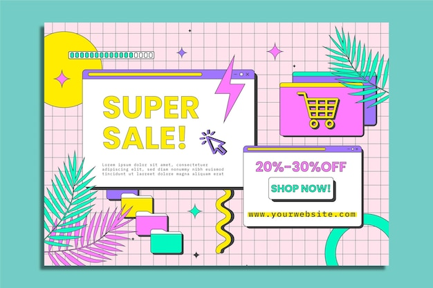 Online shopping horizontal banner template