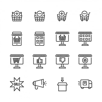 Online shopping icon set