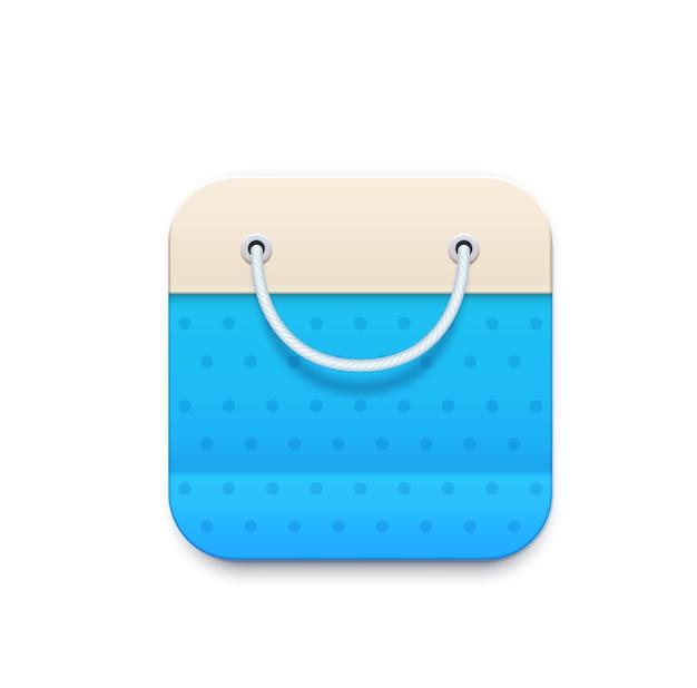オンラインショッピングのアイコン。ロープハンドル付きバッグパッケージ。オンラインショップまたはストア、スーパーマーケットのスマートフォンアプリ、ウェブページのインターフェイスのピクトグラム、顧客割引プログラムサービス3d現実的なベクトルアイコン