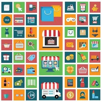 Collezione online shopping icone