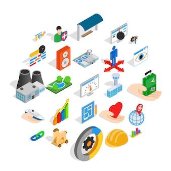 Online shopping icons set, isometric style
